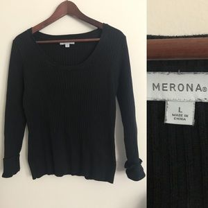 Merona knit black wide neck sweater